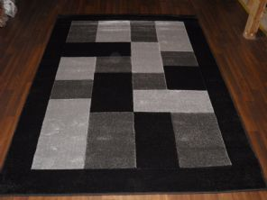 BLOCKS RANGE WOVEN RUGS HAND CARVED APROX 6X4FT 120X170CM BLACK/SILVE GREAT RUGS
